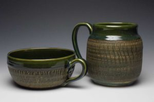 Green Crackle Mugs