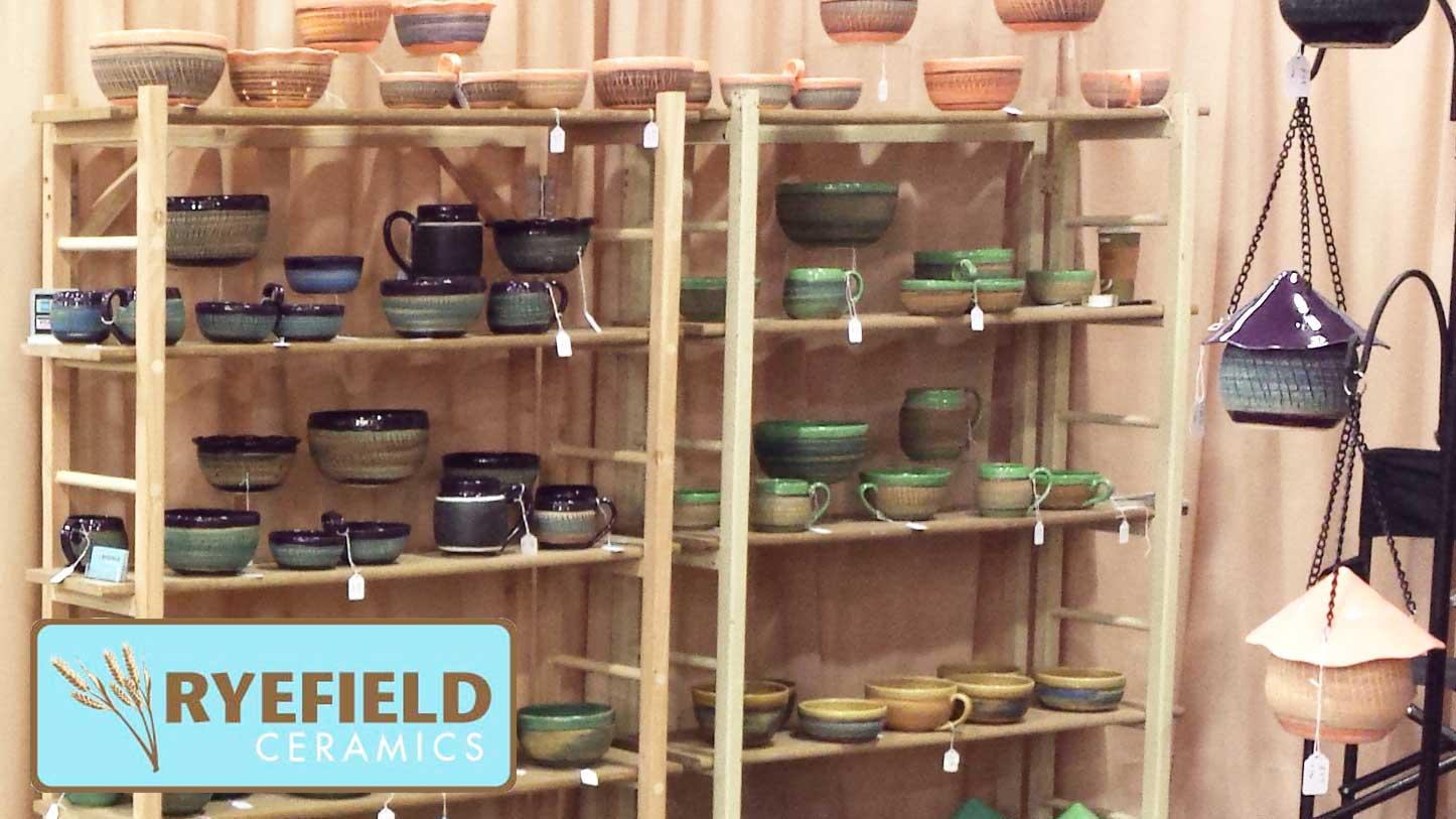 Pottery On Shelf and Birdhouses
